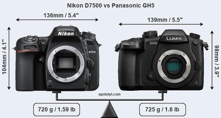 Nikon D7500 and Panasonic GH5 sensor measures