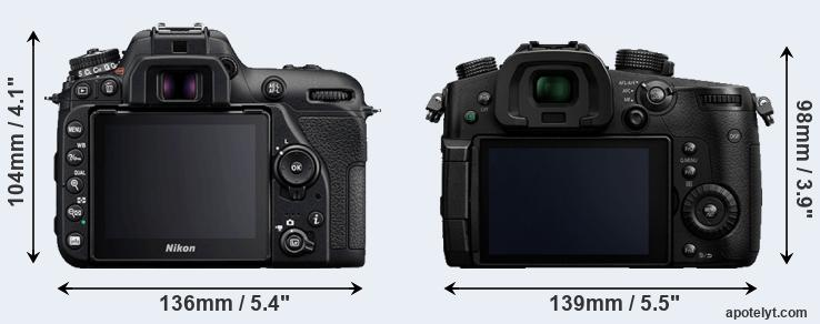 D7500 and GH5 rear side