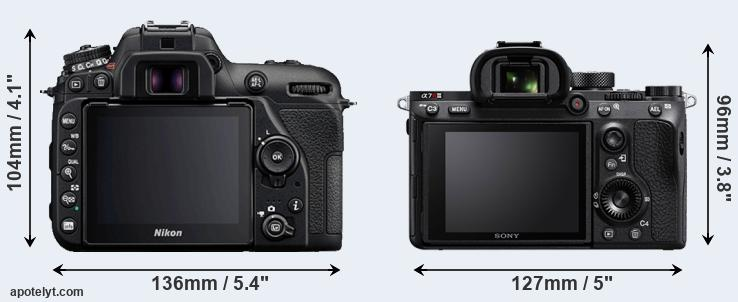 D7500 and A7R III rear side