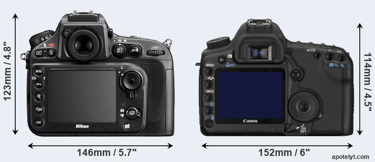 D800 and 5D Mark II rear side