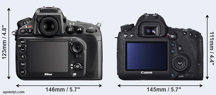 D800 and 6D rear side