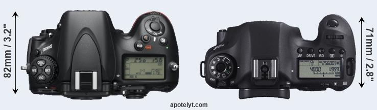 D800 versus 6D top view