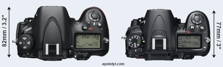 D800 versus D7000 top view