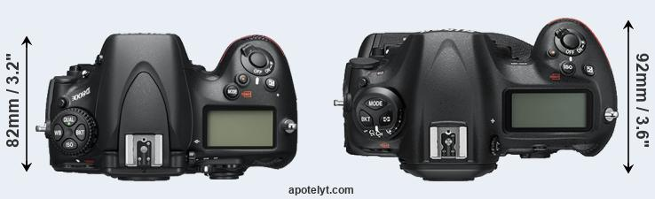 D800 versus D5 top view