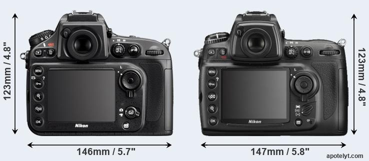 D800 and D700 rear side