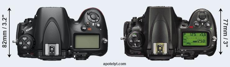 D800 versus D700 top view