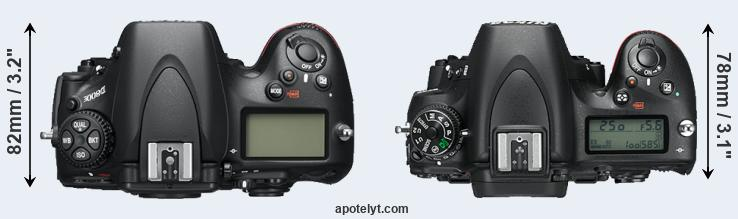 D800 versus D750 top view