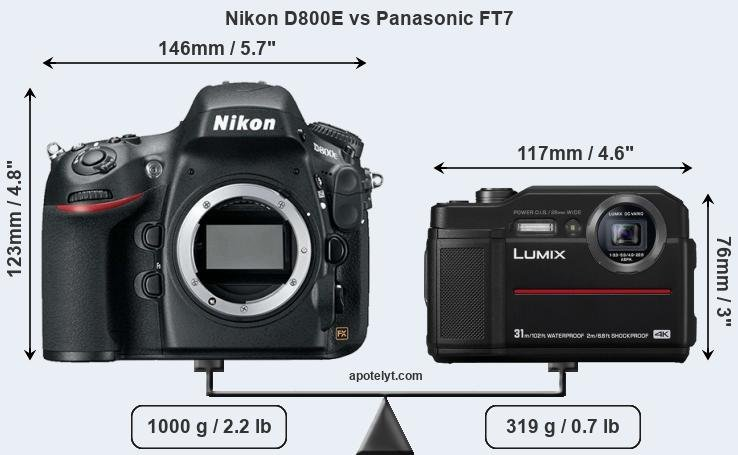 Size Nikon D800E vs Panasonic FT7