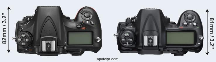 D810 versus D300S top view