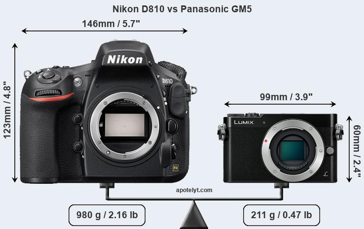 Size Nikon D810 vs Panasonic GM5