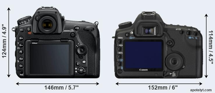 D850 and 5D Mark II rear side