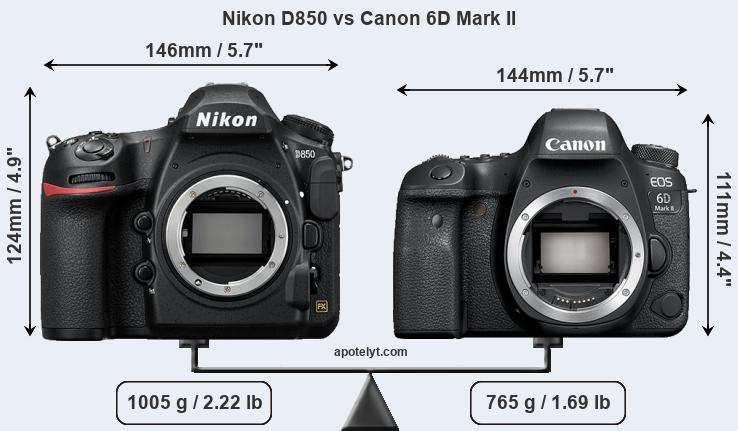 Nikon D850 vs Canon 6D Mark II front