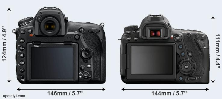 D850 and 6D Mark II rear side