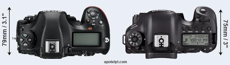 D850 versus 6D Mark II top view
