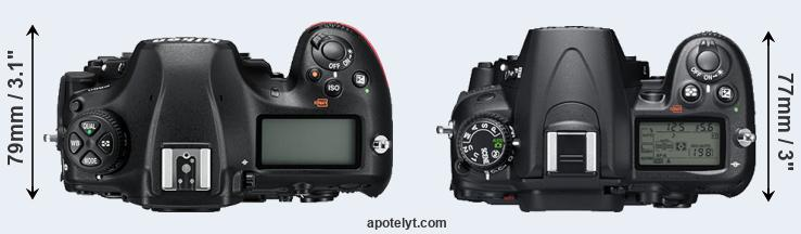 D850 versus D7000 top view