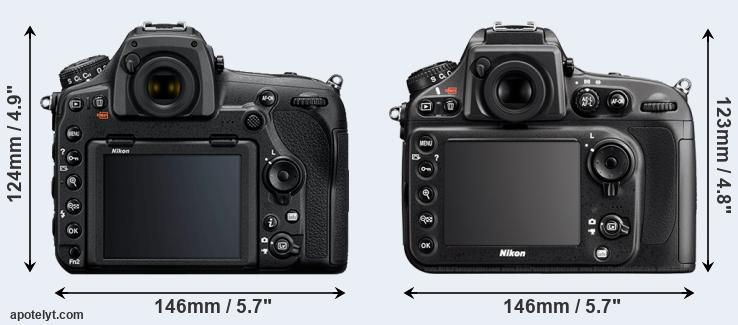 D850 and D800 rear side
