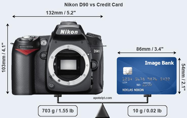 Nikon D90 vs credit card front