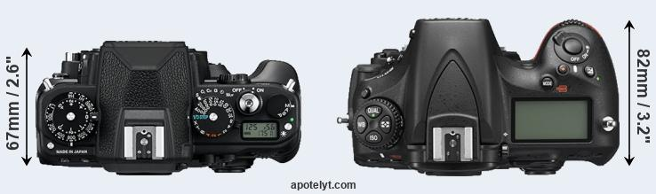 Df versus D810 top view