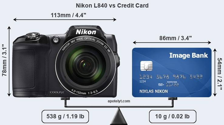 Nikon L840 vs credit card front