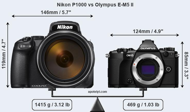 Compare Nikon P1000 and Olympus E-M5 II