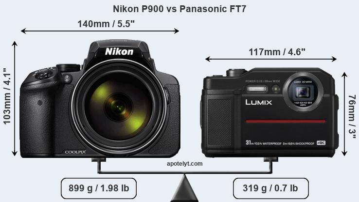 Size Nikon P900 vs Panasonic FT7