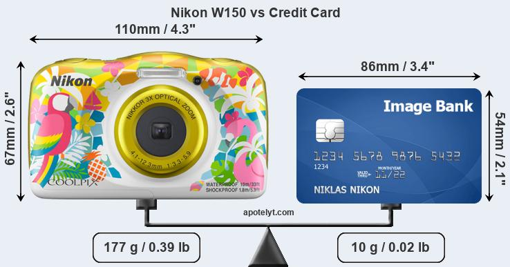 Nikon W150 vs credit card front