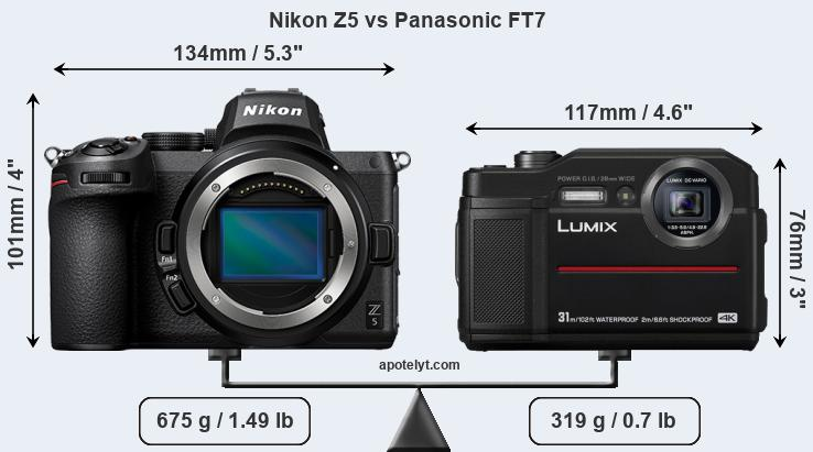 Size Nikon Z5 vs Panasonic FT7