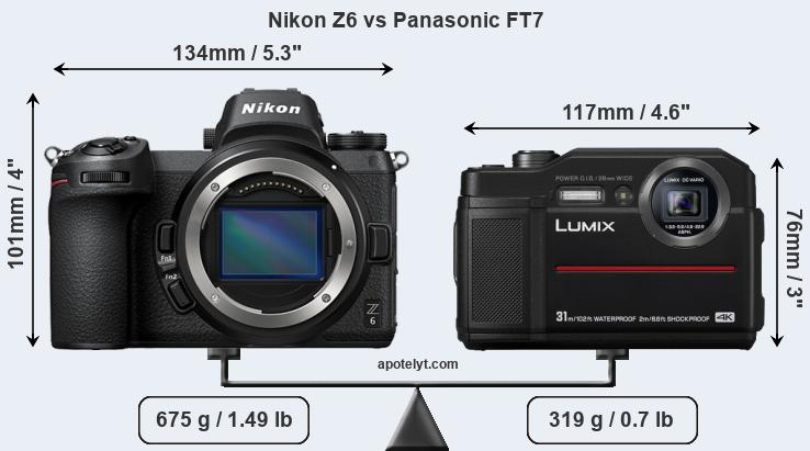 Size Nikon Z6 vs Panasonic FT7