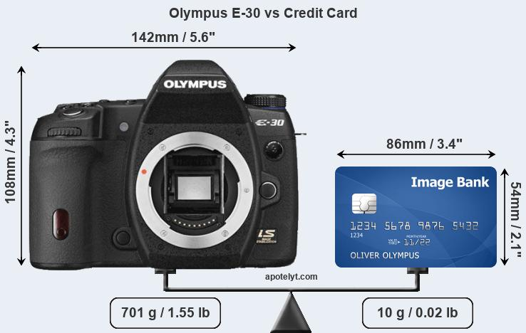 Olympus E-30 vs credit card front