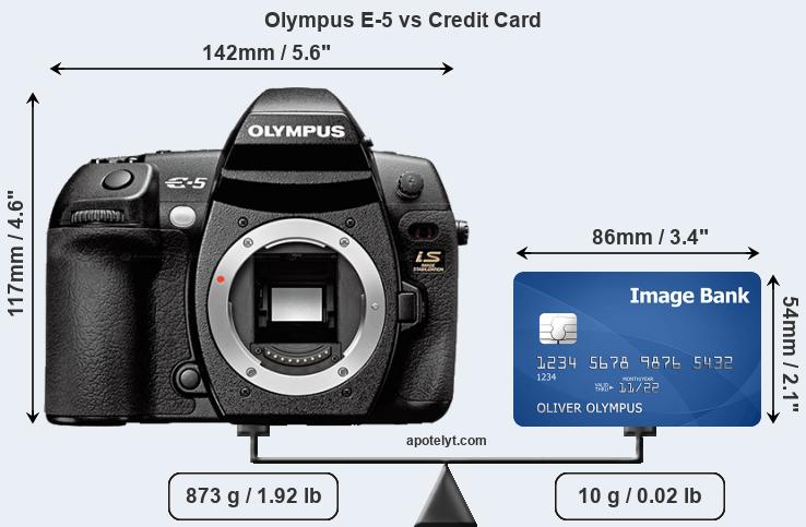 Olympus E-5 vs credit card front