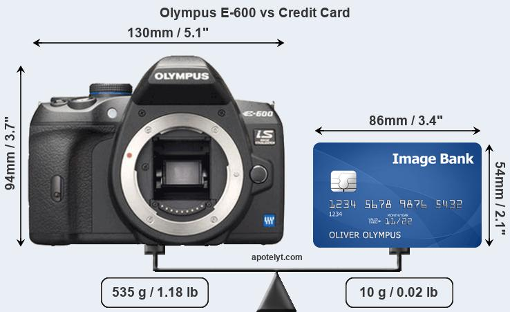 Olympus E-600 vs credit card front