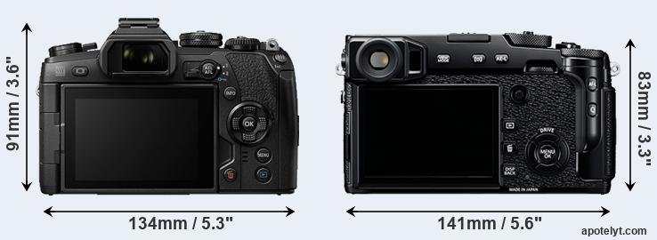 E-M1 II and X-Pro2 rear side
