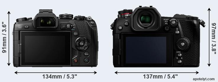 E-M1 II and G9 rear side