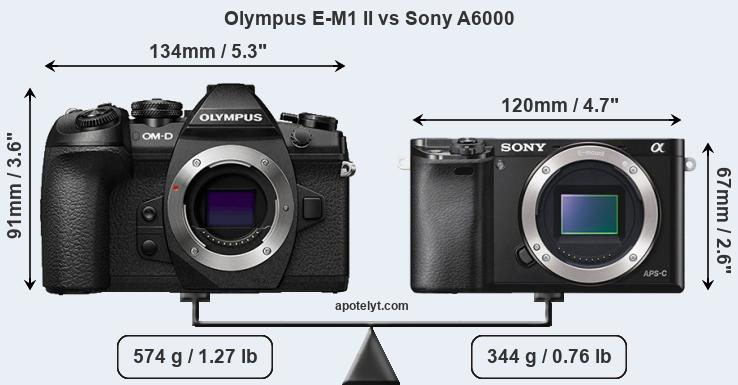 Olympus E-M1 II vs Sony A6000 front