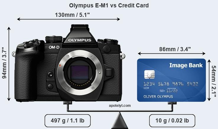 Olympus E-M1 vs credit card front