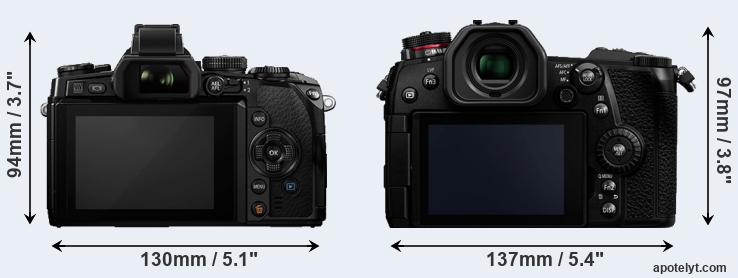 E-M1 and G9 rear side