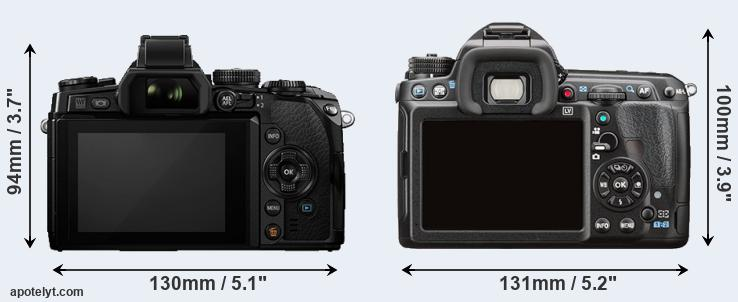 E-M1 and K-3 II rear side