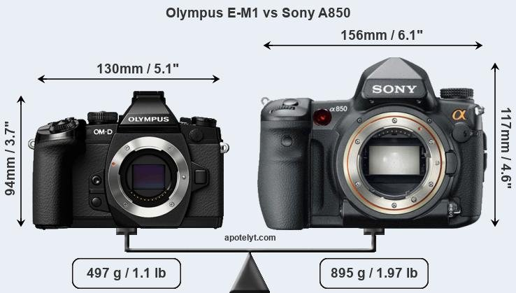 Size Olympus E-M1 vs Sony A850