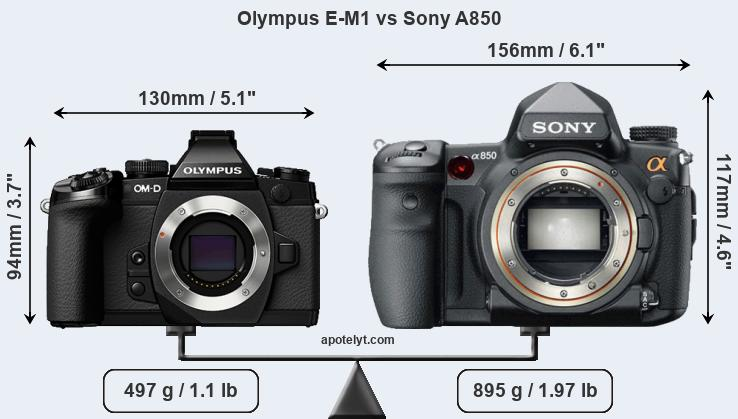 Olympus E-M1 vs Sony A850 front