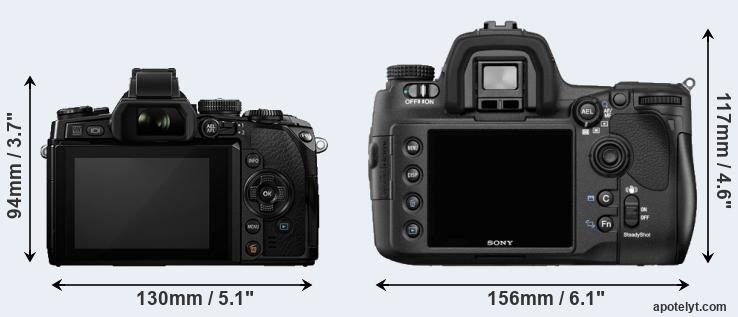 E-M1 and A850 rear side