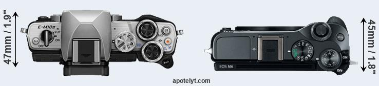 E-M10 II versus M6 top view