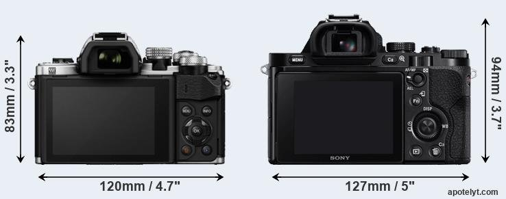 E-M10 II and A7R rear side
