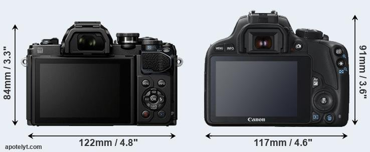 E-M10 III and 100D rear side