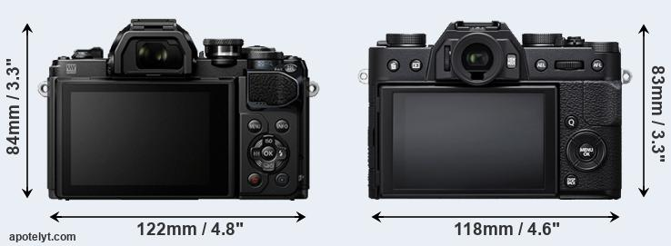 E-M10 III and X-T20 rear side