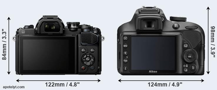E-M10 III and D3400 rear side