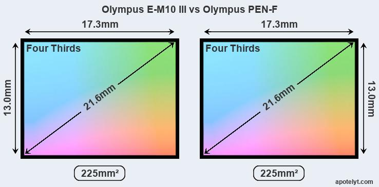 Olympus E-M10 III and Olympus PEN-F sensor measures