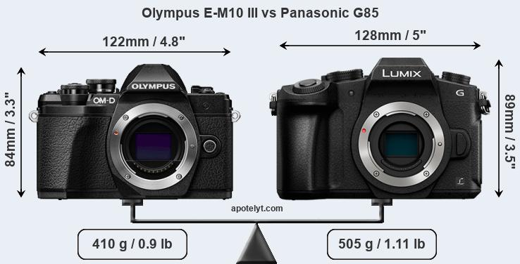 Olympus E-M10 III and Panasonic G85 sensor measures