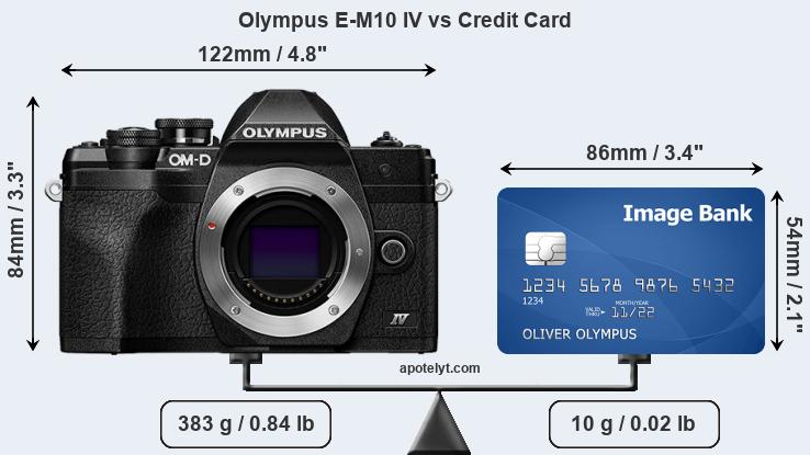 Olympus E-M10 IV vs credit card front