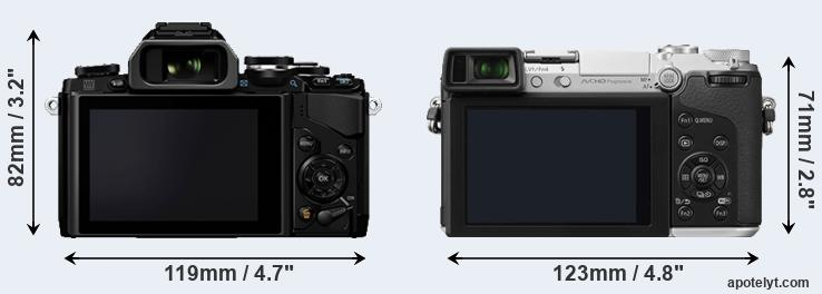 E-M10 and GX7 rear side