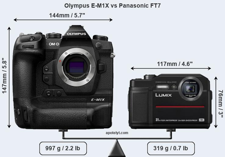 Size Olympus E-M1X vs Panasonic FT7